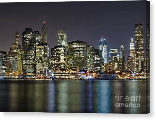 Empire State Building Canvas Print - A View To Lower Manhattan by Susan Candelario