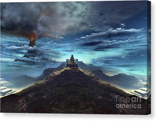 Archeology Canvas Print - A Volcano Erupts Near An Ancient Mayan by Corey Ford