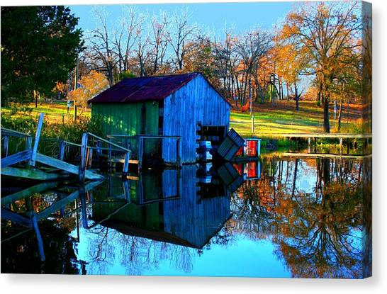 Abandoned Boat House Canvas Print by Carrie OBrien Sibley