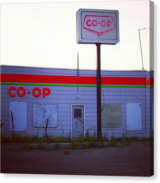 Saskatchewan Canvas Print - #abandoned #co-op #gasstation In #dubuc by Michael Squier
