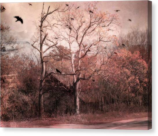 Old Country Roads Canvas Print - Abandoned Haunted Barn With Crows by Kathy Fornal