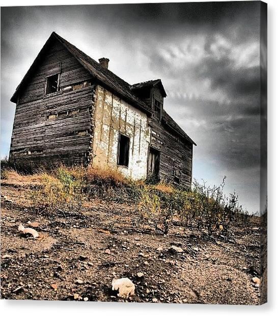Saskatchewan Canvas Print - #abandoned #rural #homestead Between by Michael Squier