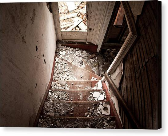 Drywall Canvas Print - Abandoned Stairs 2 by Cale Best