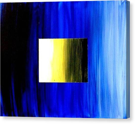 Abstract 3d Golden Blue  Square Canvas Print by Teo Alfonso