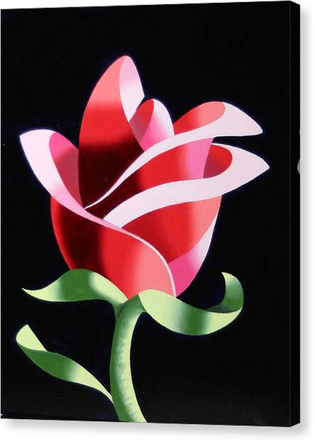 Abstract Geometric Cubist Rose Oil Painting 2 Canvas Print by Mark Webster