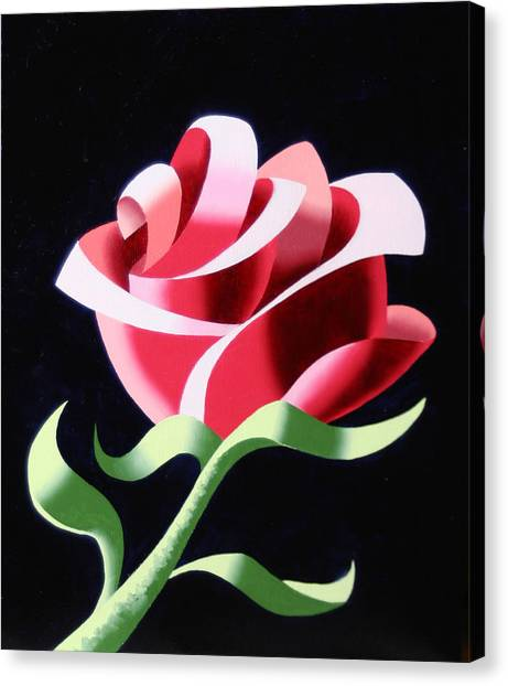 Abstract Geometric Cubist Rose Oil Painting 3 Canvas Print by Mark Webster