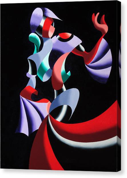 Abstract Geometric Futurist Figurative Oil Painting Canvas Print by Mark Webster