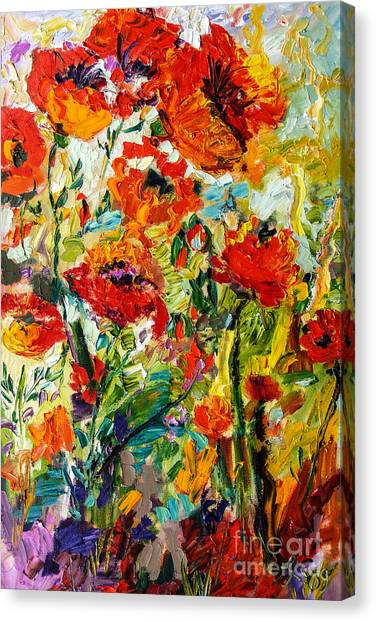 Impressionist Red Poppies  Canvas Print