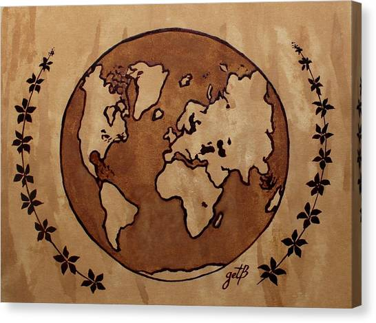 Abstract World Globe Map Coffee Painting Canvas Print