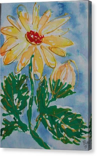Abstract Yellow Daisy Canvas Print by Jan Soper