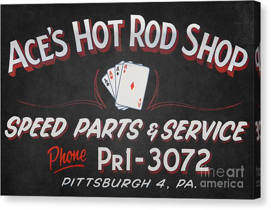 Car Hod Canvas Print - Ace's Hot Rod Shop by Clarence Holmes