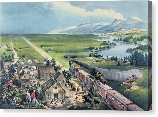 Currier And Ives Canvas Print - Across The Continent by Currier and Ives