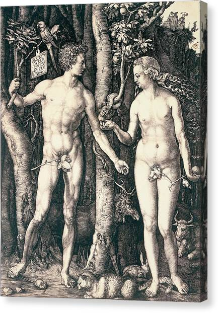 Torah Canvas Print - Adam And Eve by Albrecht Durer