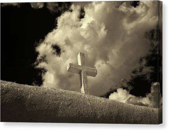 Adobe And Cross Canvas Print by Christine Hauber