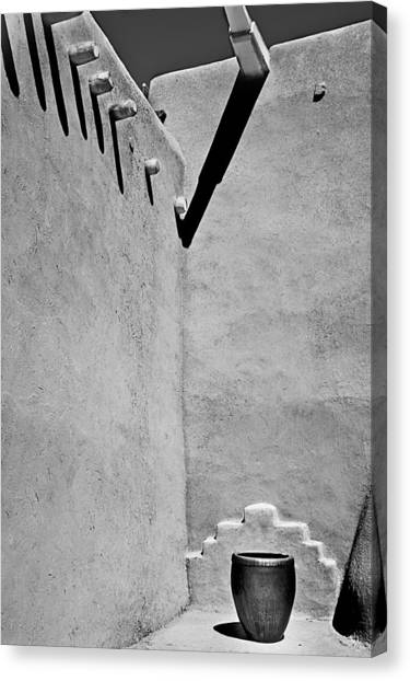 Adobe Wall And Pot Canvas Print