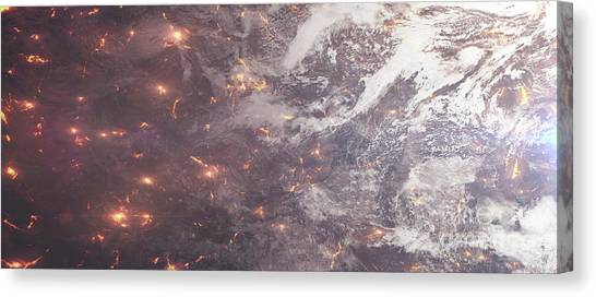 Aerial View Canvas Print - Aerial View Of A Planet Ripped Apart by Tomasz Dabrowski