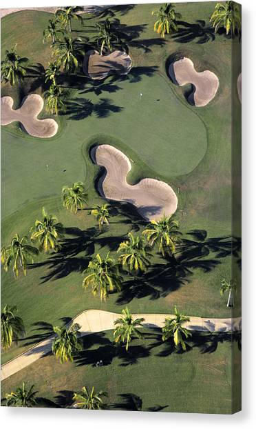 Jack Nicklaus Canvas Print - Aerial View Of Back-to-back Greens On The Jack Nicklaus Four Seasons Golf Course At Punta Mita, Nayarit, Mexico by Mark D Callanan