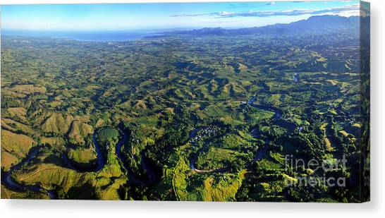 Sleeping Giant Canvas Print - Aerial View Of The Nadi River Winding by Michael Wood