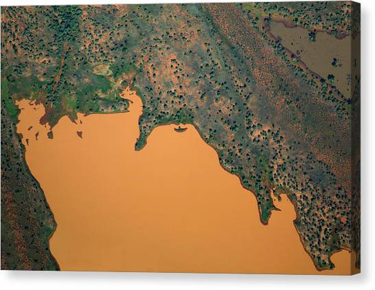 Sahara Desert Canvas Print - Aerial View Of Uncultivated Landscape by Tobias Titz