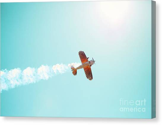 Sky Canvas Print - Aerobatic Biplane Inverted by Kim Fearheiley