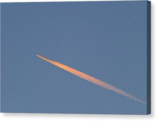 Aeroplane Contrail Canvas Print by David Nunuk