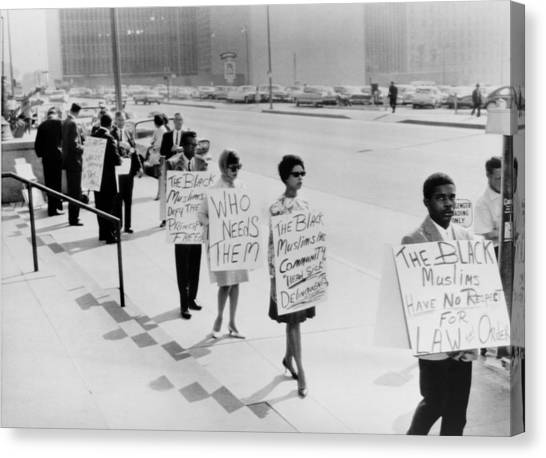 African Americans Protesting Black Canvas Print by Everett