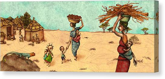 Iguanas Canvas Print - Africans by Autogiro Illustration