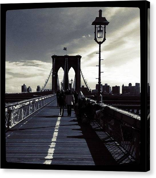 Skylines Canvas Print - Afternoon On The Brooklyn Bridge by Luke Kingma