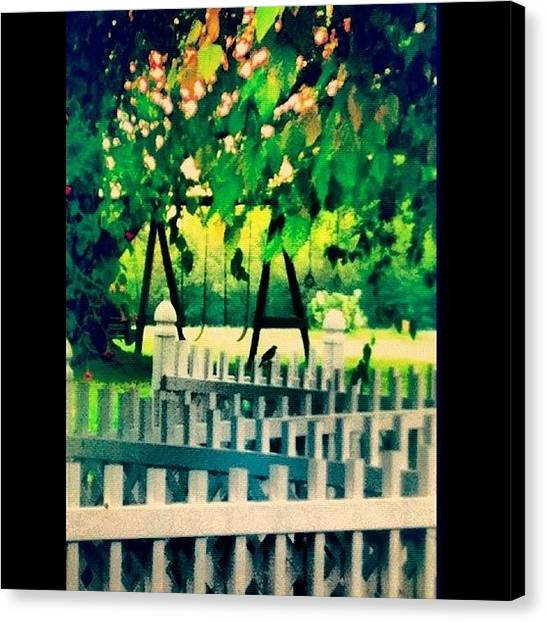 Swing Canvas Print - #afterthestorm #swingset #swing #summer by Lori Lynn Gager