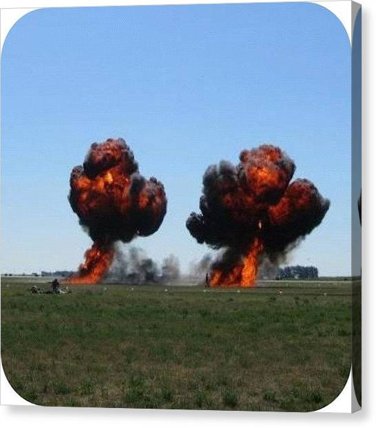 Army Canvas Print - #airplane #explosion #army by Ange Exile DuParadis