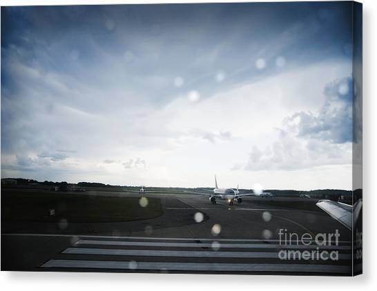 Air Traffic Control Canvas Print - Airplane On Runway by Shannon Fagan