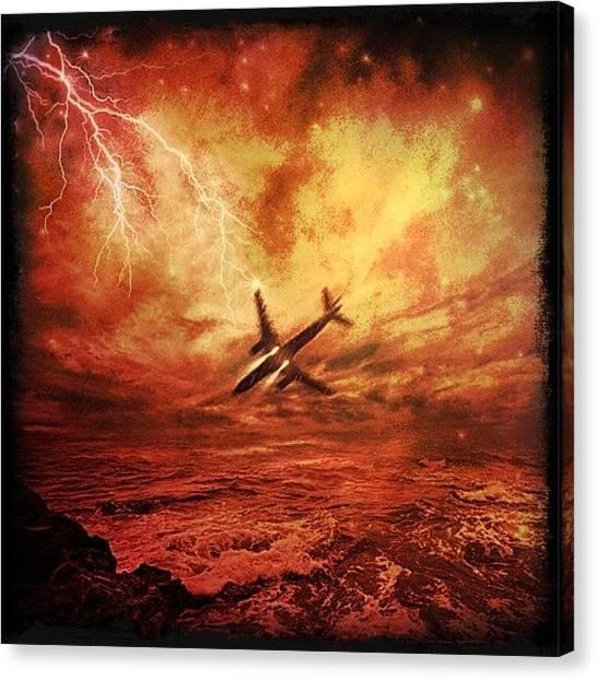 Lightning Canvas Print - #airplane by Rita Frederick