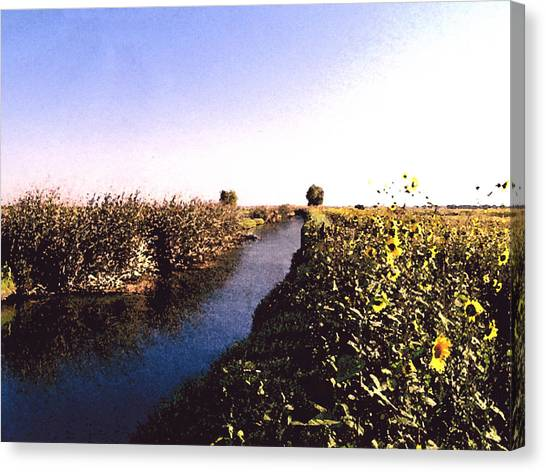Airport Canal Canvas Print by Eunice Olson