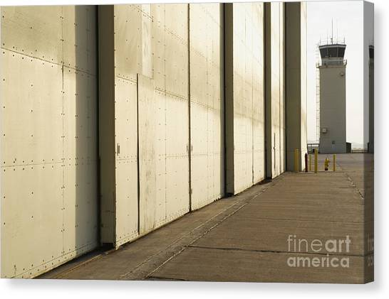 Air Traffic Control Canvas Print - Airport Hanger At An Airport by Dave & Les Jacobs