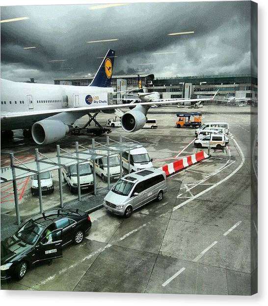 Follow Canvas Print - #airport #manchester #plane #car #cloudy by Abdelrahman Alawwad