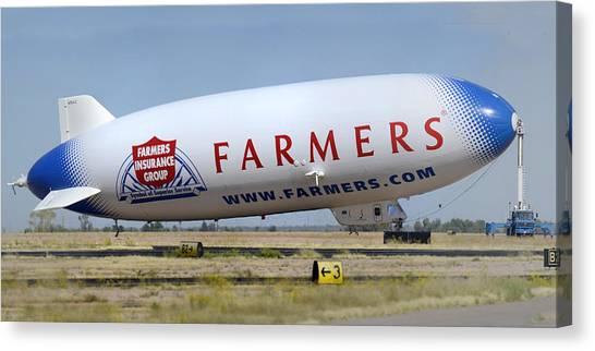 Blimps Canvas Print - Airship Ventures Zeppelin Nt N704lz Eureka Marana Regional Airport October 14 2011 by Brian Lockett