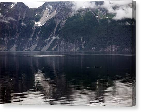 Alaskan Mountain Scene Whales Canvas Print