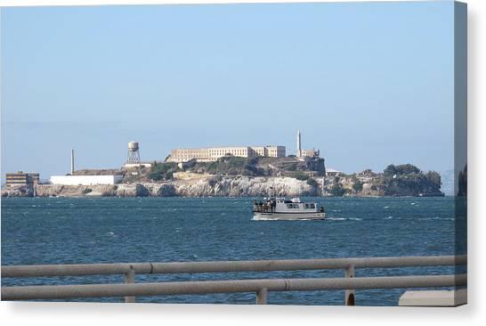 Alcatraz Island And Charter Fishing Boat Canvas Print
