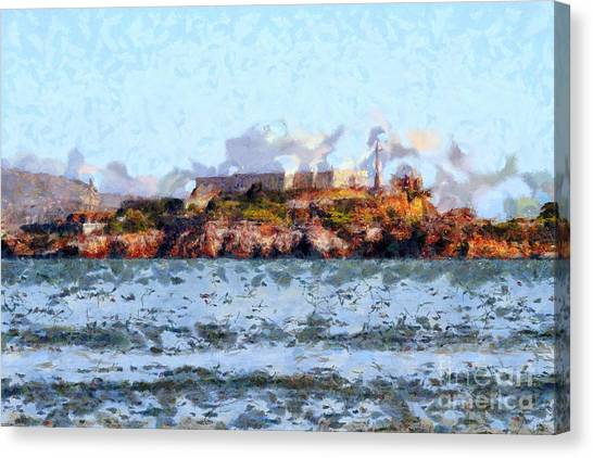 Alcatraz Island In San Francisco California . 7d14031 Canvas Print by Wingsdomain Art and Photography