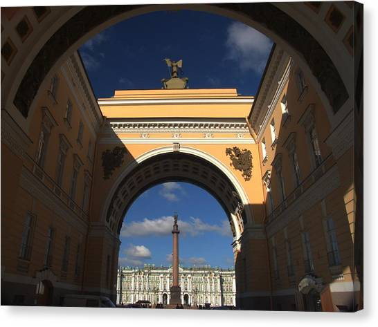 State Hermitage Canvas Print - Alexander Column Framed By The General by Richard Nowitz