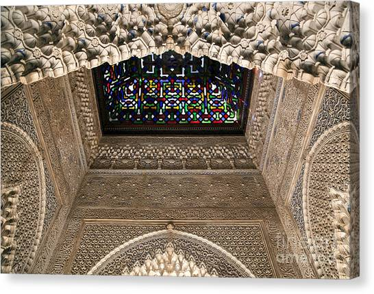 Alhambra Canvas Print - Alhambra Stained Glass Detail by Jane Rix
