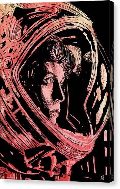 Alien Canvas Print - Alien Sigourney Weaver by Giuseppe Cristiano