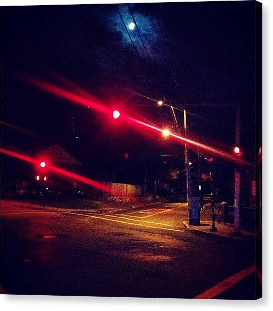 Stoplights Canvas Print - All Of The Lights #moonlight #stoplight by Joseph Stowers