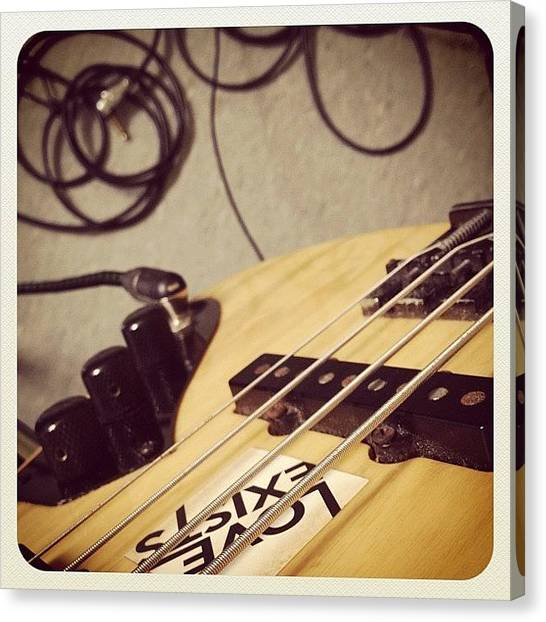Bass Guitars Canvas Print - All Set For Some Recording! #loveexists by Gabriel Kang