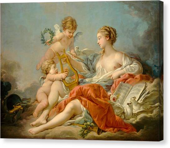 Cupid Canvas Print - Allegory Of Music by Francois Bouche