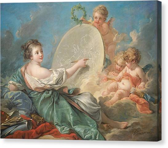 Cupid Canvas Print - Allegory Of Painting by Francois Boucher