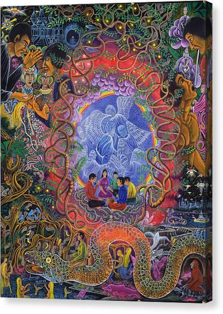 Canvas Print featuring the painting Alli Mariri  by Pablo Amaringo