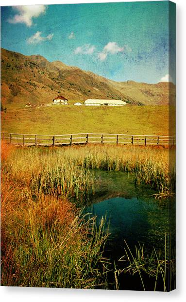 Alpe Nemes In South Tyrol Canvas Print by Angela Bruno