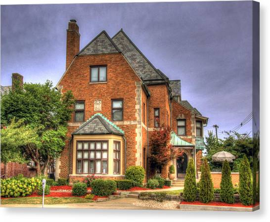 Alpha Delta Pi Canvas Print - Alpha Delta Pi House At University Of Illinois by Ann Higgens