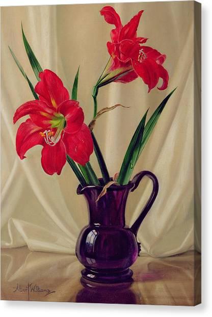 Amaryllis Canvas Print - Amaryllis Lillies In A Dark Glass Jug by Albert Williams